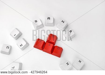 Wasd Keyboard Buttons. The Concept Of Computer Games, Gaming And Esports. Red And White Buttons Of T