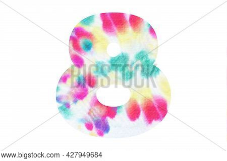 Decorative Numeral 8 With Abstract Hand-painted Tie Dye Texture. Isolated On White Background. Illus