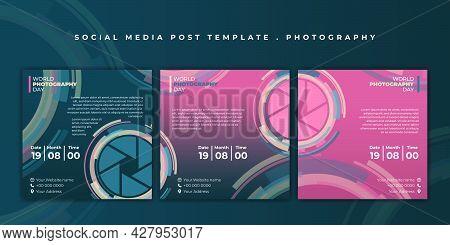 Set Of Social Media Template. Social Media Post Template With Camera Shutter Design. Good Template F