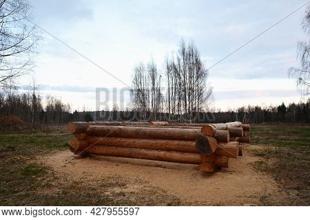 Unfinished Wooden Log House. Construction Of An Environmentally Friendly House Made Of Wood. Walls,