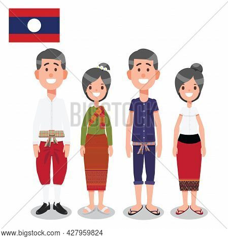 Man And Woman In Laos Traditional Formal And Informal Nation Costume With Flag