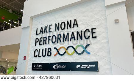 The Interior Sign At The Lake Nona Performance Club Fitness Center In Orlando, Florida.