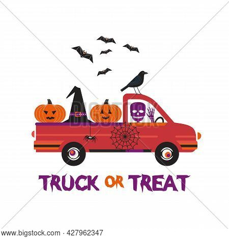 Fancy Halloween Truck Or Treat Flat Vector Poster. Cute Holiday Jack-o-lantern, Witch Hat, Skull, Ba