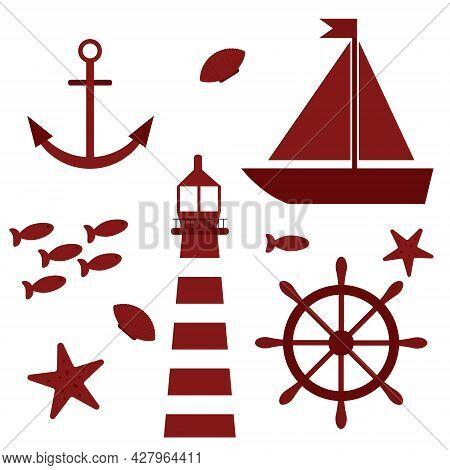 Marine Theme Set Illustration With Lighthouse, Sailboat And Marine Inhabitants