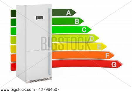 Refrigerator With Energy Efficiency Chart, 3d Rendering Isolated On White Background