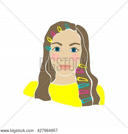 Teens Girl Drawn Hat In Trendy Style. Lifestyle People. Beautiful Female Fashion Face Vector Illustr