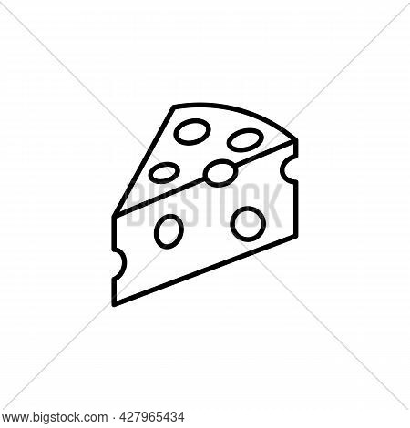 Cheese Slice Black Line Icon. Cheese Advertising. Trendy Flat Isolated Outline Symbol On White Can B