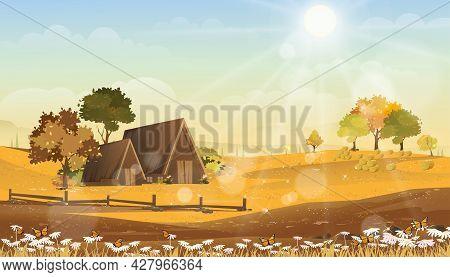 Autumn Landscape Wonderland Farm Fields With Farm House And Sunrise,vector Cartoon Fall Season In Co