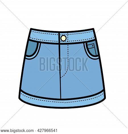 Denim Skirt Color Variation For Coloring On A White Background