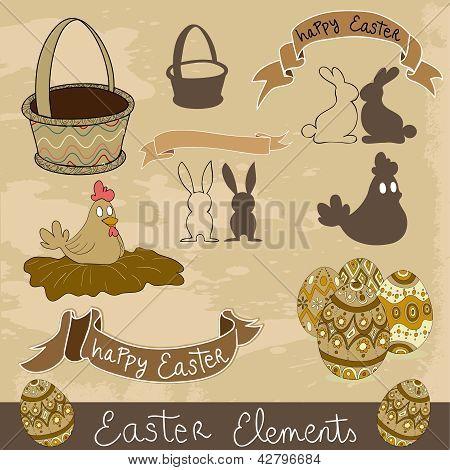 Happy Easter Elements Set