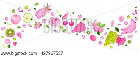 Pink And Green Fruit And Berries Banner. Flat Lay Of Healthy Eating Icons Isolated On White. Balance