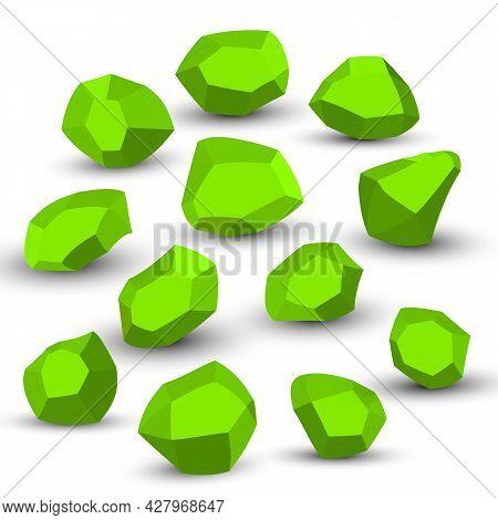 Cartoon Stones. Rock Stone Isometric Set. Green Boulders, Natural Building Block Shapes, Wall Stones