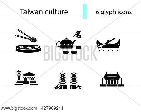 Taiwanese Customs Outline Icons Set. Famous Building In Taiwan. Oriental Specialty. Dragon And Tiger