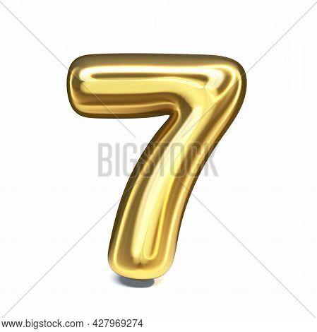 Golden Font Number 7 Seven 3d Rendering Illustration Isolated On White Background