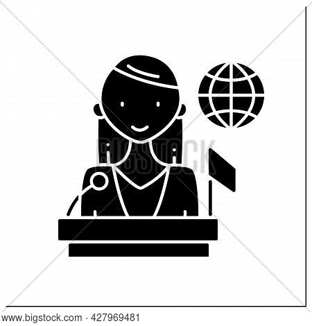 Politician Glyph Icon. Woman Top Career. Propose, Support, And Create Laws Or Policies. Successful W