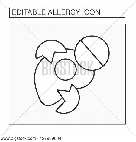 Allergy To Food Line Icon. Allergy Foods For Children. Eggs Allergen. Healthcare Concept.isolated Ve