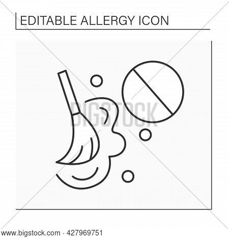 Dust Allergy Line Icon. Terrible Allergy Reaction On Fug During Cleaning And Sweeping.healthcare Con