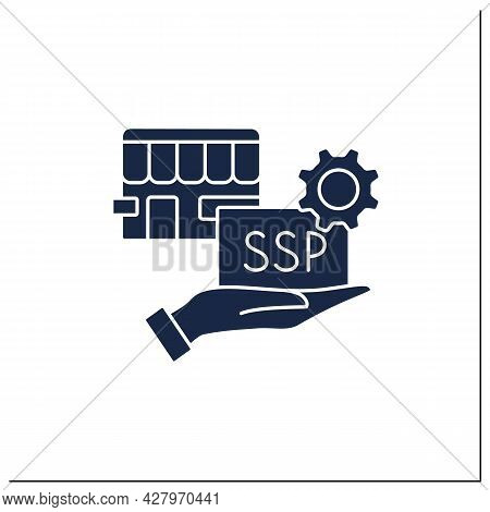 Supply Side Glyph Icon. Provides Product Or Service For Customers. Special Proposal Of Goods And Thi