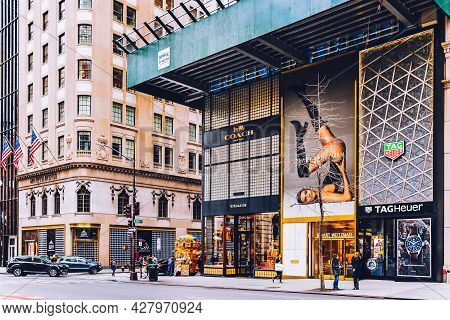 New York, Usa - February 8, 2020: Tag Heuer Store And Coach Fashion House On Iconic Shopping Street