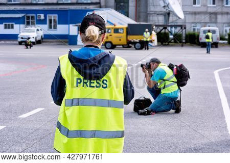 Abakan, Russia - August 08, 2020: Press And Photographers Waiting And Taking Pictures At Airport.