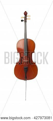 Beautiful Cello Isolated On White. Classic Musical Instrument