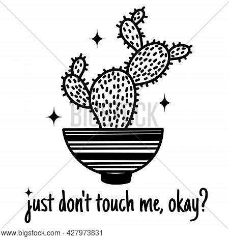 Cute Cartoon Cactus Vector Illustration. Hand Drawn Black Outline Of A Potted Plant. Succulent Plant