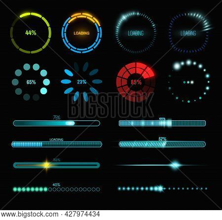 Loading Process And Status Bar Icons, Hud Interface. Vector Sci Fi Digital Futuristic Elements For D