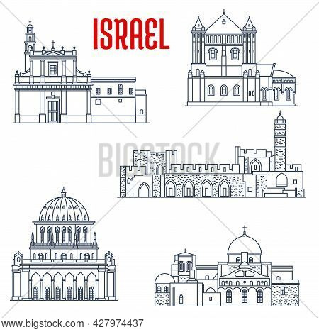 Israel Landmarks And Architecture, Churches And Temples Buildings, Vector Icons. Israel Sightseeing