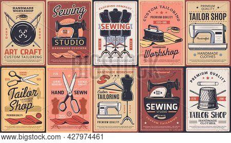 Tailor Shop, Dressmaking Atelier And Sewing Workshop, Vector Retro Posters. Dressmaker Seamstress Sa