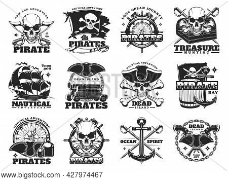 Pirate And Treasure Hunting Icons Of Skull Island And Sea Ships, Vector. Pirate Treasures Adventure