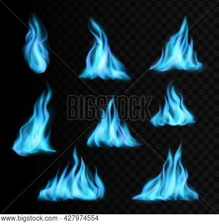 Natural Gas Burning Blue Flames And Realistic Fire Light Glow Or Energy Blaze Vector Icons. Blue Gas