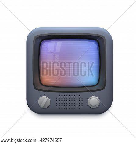 Retro Tv Interface Icon, Old Television Screen Or Vintage Video Player App, Vector. Retro Vintage Tv