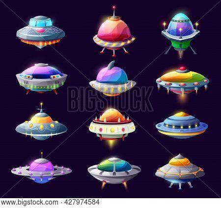 Cartoon Ufo Alien Spaceships And Space Crafts, Vector Saucers, Galaxy Rockets, Fantasy Bizarre Shutt