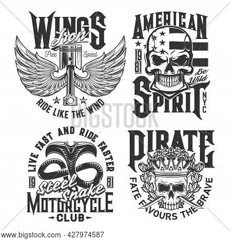 Motorcycle Races Club T-shirt Prints With Skull And Wings, Vector Car Rally Signs. American Spirit S