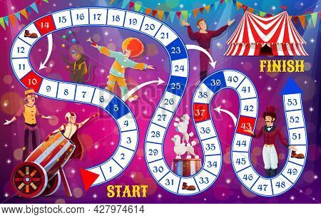 Boardgame With Shapito Circus Performers, Kids Tabletop Game, Vector Template. Kids Cartoon Track Mo