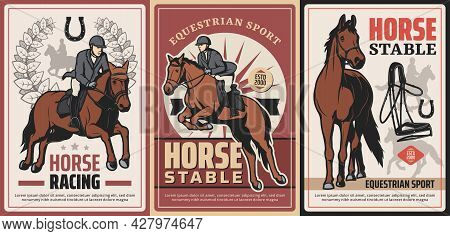 Equestrian Sport, Horse Riding And Race On Hippodrome Vector Vintage Posters. Professional Ride, Hor