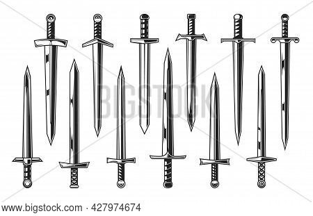 European Knight Medieval Swords, Heraldry. Vector Weapon Of Medieval Warriors Set With Straight Swor