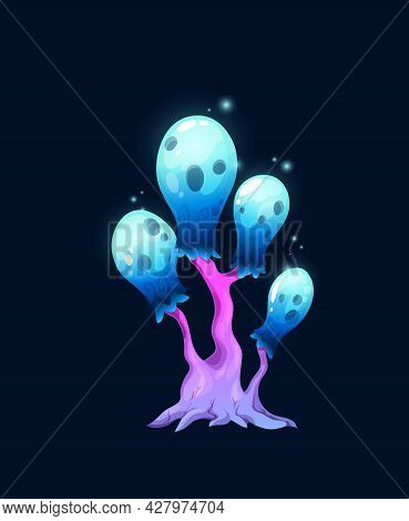 Fantasy Magic Sparkling Blue Mushroom, Vector Fungi Of Unusual Shape With Pink Stipe And Glow Bulb S