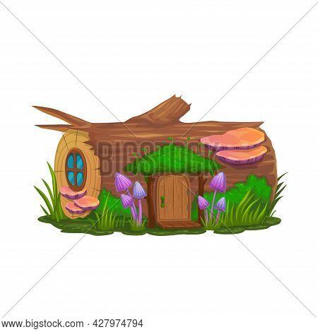 Cartoon Stump House Dwelling Of Gnome, Wizard Or Elf, Vector Dwarf Home. Fairy Tale Elf Or Leprechau