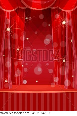 Red Curtains On Stage, Circus Or Theater Empty Scene With Open Backstage Portiere, Spotlights And Sp