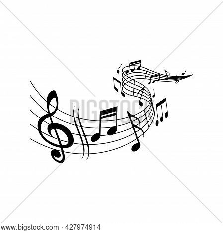 Music Melody Wave On Notes Staff With Clef Treble, Vector. Classic Music Concert, Orchestra, Symphon