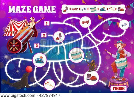 Kids Maze Game, Make Circus Clown Cartoon Boardgame With Shapito Performers, Vector. Kids Tabletop L