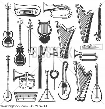 Musical Instruments Isolated Vector Tuba, Harp And Balalaika, Klappenhorn, Clarinet Alto Or Tar. Kem