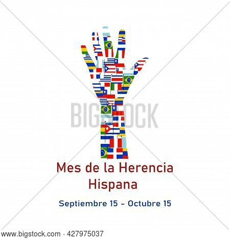 Different Flags Of America On Silhouette People Hand. Cultural And Ethnic Diversity. Mes Nacional De