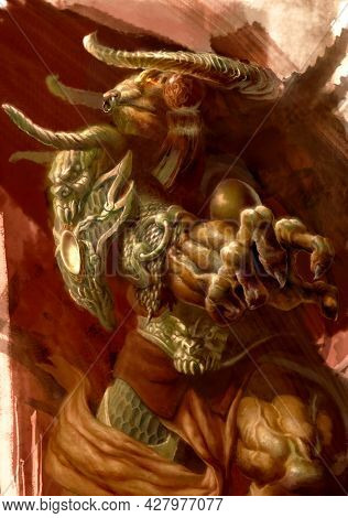 Digital Illustration Of Fantasy Character Tauren Dress In Ancient Chinese Style Of Armor