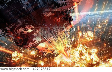 Digital Illustration Of Futuristic Science Fiction Scene With Huge Spaceship Spacecraft Aiming Firin