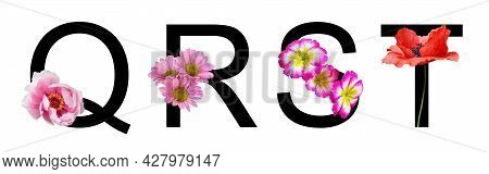 Flower Font Letter Q, R, S, T Create With Real Floral. Bloom Flora Font For Decoration In Spring, Su