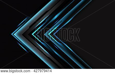 Abstract Blue Cyber Black Circuit Arrow On Dark Grey With Blank Space Design Modern Futuristic Techn