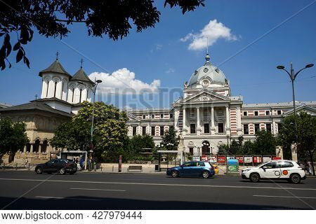 Bucharest, Romania - July 13, 2021: Coltea Orthodox Church (1702) And Coltea Hospital, Built Between