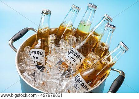 Zhongshan Guangdong China-july 17 2021:bottles Of Corona Beer In Ice Bucket.corona Extra Is Produced